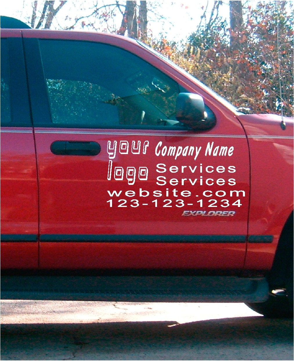 Car truck van door decals vinyl letters sticker custom business lettering decal sign vehicle lettering