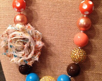 Orange, blue, and brown necklace with shabby flower----ON SALE----