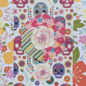 Happy Skull OM AH HUM Hexagon Mixed Media Art Collage 6x8