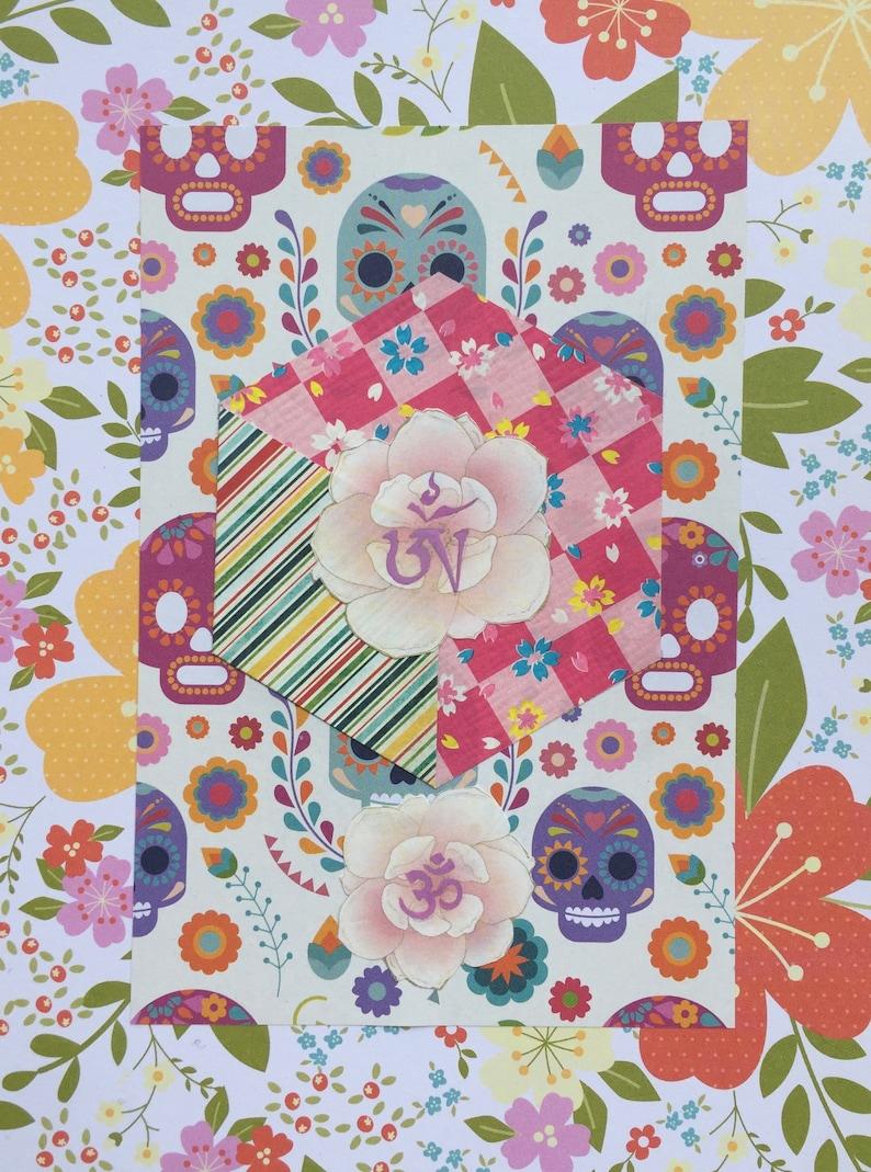 OM in Flower Skull Hexagon Mixed Media Art Collage   Etsy