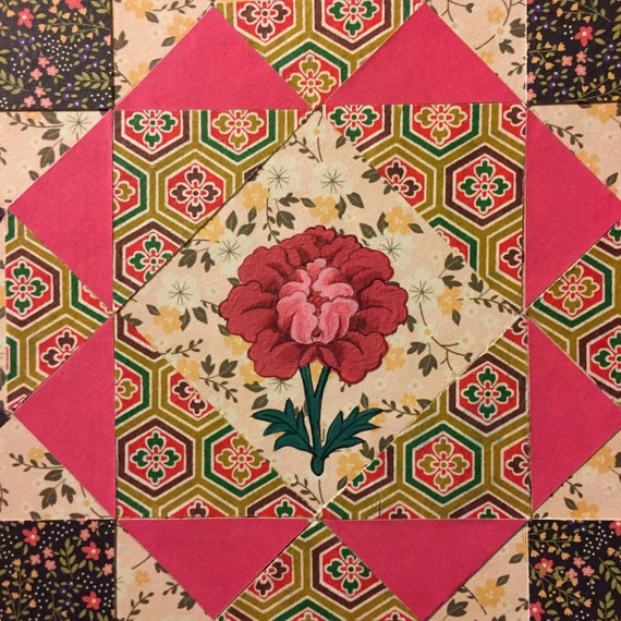Tibetan Red Lotus On An Crown Of Thorns Quilt Pattern With Etsy