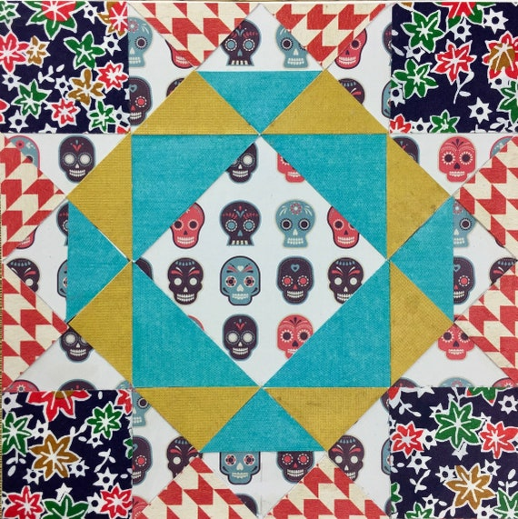 Crown Of Thorns Day Of The Dead Quilt Square Collage With Etsy