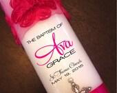 Personalize Custom Hot Pink Girl Baptism Christening Candle - Chiffon Rose with Rhinestone Cross