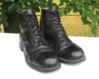 Combat Boots Size 10E Military Boots Marching or Parade Boots Army Boots Black Leather Ankle Boots, Made in Canada by HH BROWN, Vintage