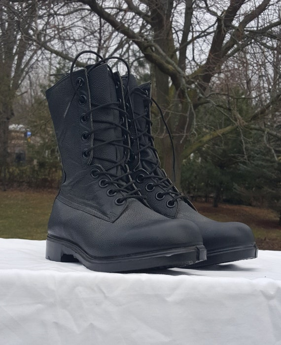 Kampf Stiefel Militär Feld Stiefel schwarz Leder Armee Stiefel hohe Kampf Stiefel Arbeit Stiefel Jagd Stiefel Camping Stiefel Made in Canada