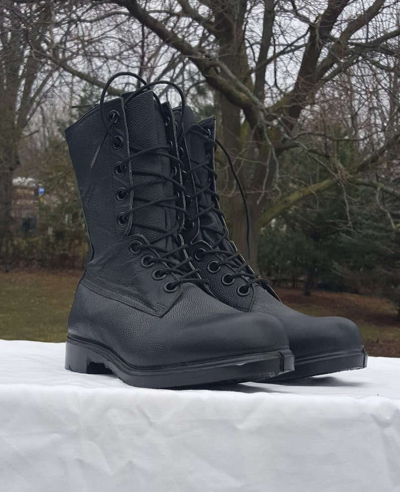 Combat Boots Military Field Boots Black Leather Army Boots image 0