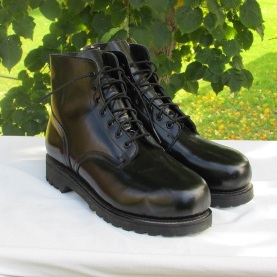 combat boots military marching or parade boots black leather etsy