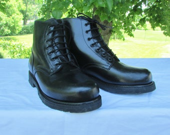 Combat Boots Military Parade Boots Marching Boots Army Boots Cadet Boots Black Leather Boots Made in Canada by BOULET Excellent Condition