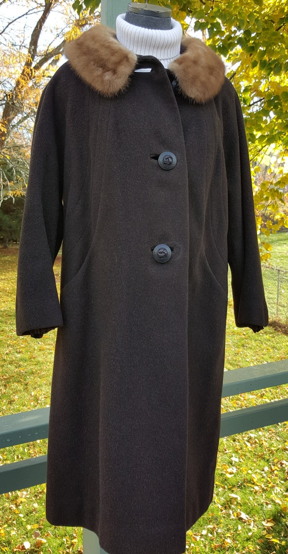 new season the sale of shoes fashion style Union Made Wool Coat with Faux Fur Collar, Brown Wool Winter Coat, Mid  Length Brown Wool Coat, Made Canada, Size 12, Excellent Condition