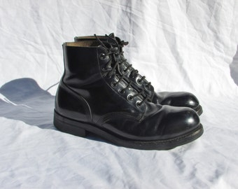 Combat Boots Size 7.5 Black Leather Ankle Boots Army Boots Marching or Parade Boots Made in Canada by HH BROWN Vintage 1989 Women's 9.5