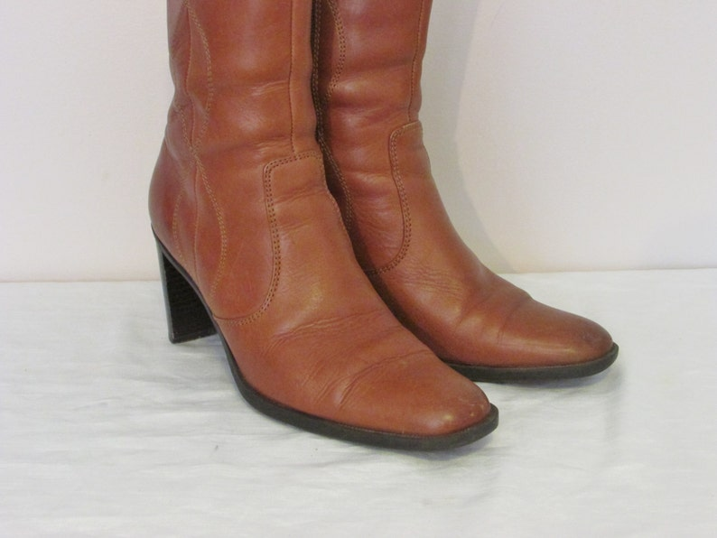 ba219d621ef1f Vintage Womens Size 7.5 Brown Leather Boots, Ankle Boots, High Heel Boots,  Gorgeous Carmel Color, Western Pattern, Excellent Condition