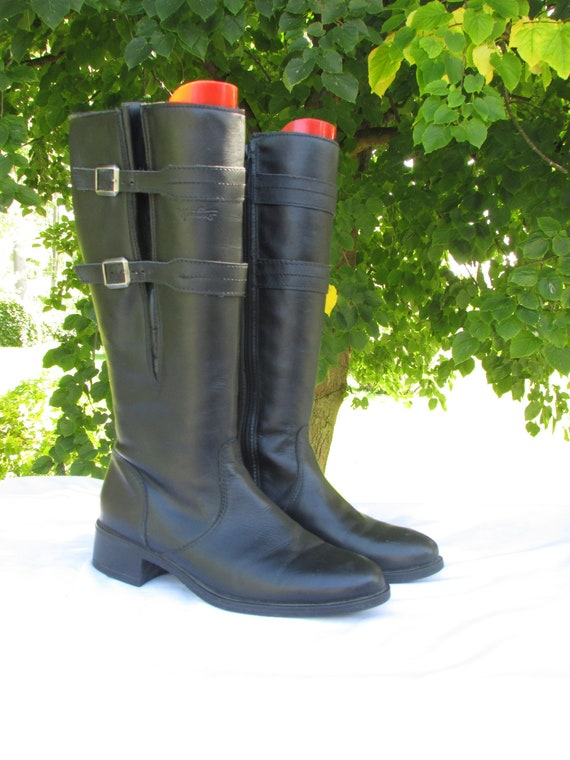 Tall Leather Winter Boots Size 8 Zipper Boots Blac