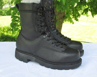 Combat Boots Military Field Boots Black Leather Safety Boots Work Boots Army Boots Steel Toe Safety Boots by TERRA Excellent Condition