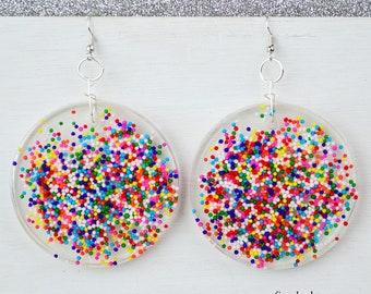 Resin Rainbow Sprinkle Resin Earrings