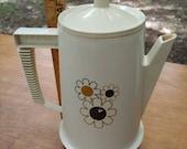 Vintage coffee maker mid century regal poly perk percolator electric retro atomic 1960s kitchen decor coffee tea pot flowers white color