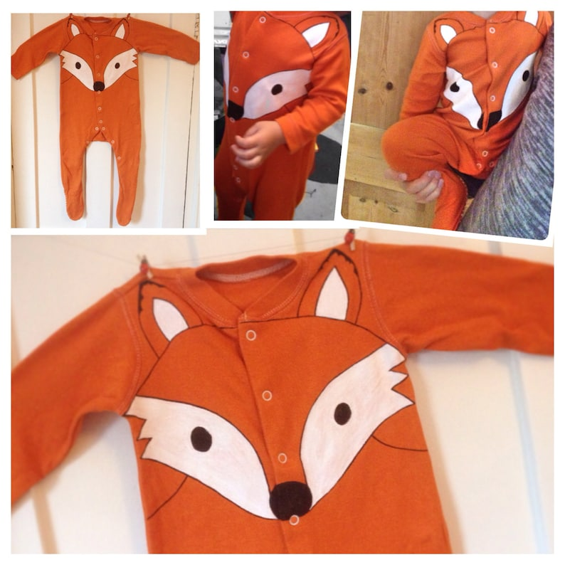 25f32e389 Halloween Orange fox babygrow fox sleepsuit fox onesie UK | Etsy
