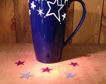 Christmas stars coffee cup, blue mug, hot chocolate latte cup,Christmas mug, Christmas gift range, UK seller