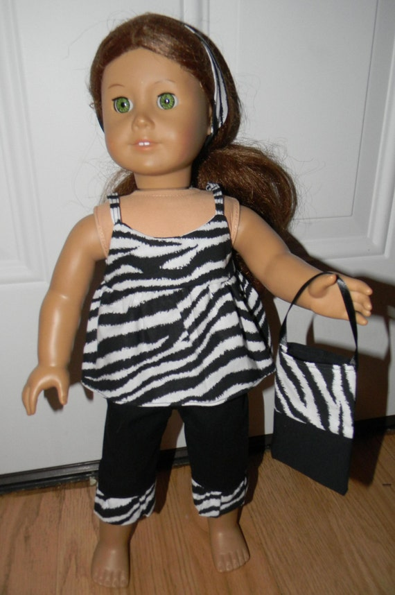 41ce1fdb0 18 inch Doll Clothes Black and White Zebra Outfit with