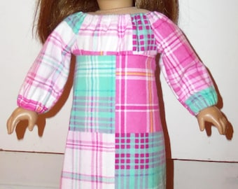"""18"""" Doll Clothes Pink Green Flannel Nightgown Pajamas For 18 inch Dolls"""