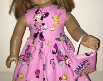 """18"""" Doll Clothes Pink Minnie Mouse Dress with Headband and Purse For 18 inch Dolls"""