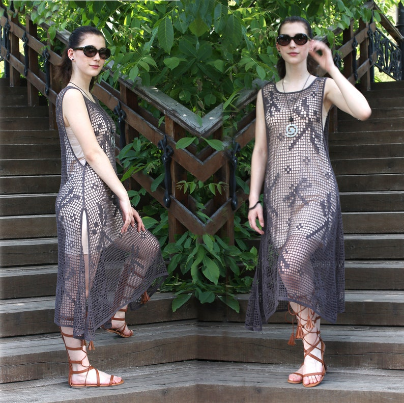 Festival Loose Fit Kaftan Caftan Dress Boho Hippie Women Linen Tunic Cover Up Sexy Crochet Lace Dress Crochet Linen Summer Clothing