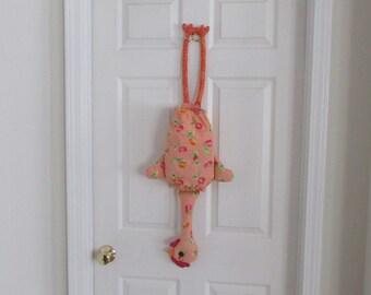 Chicken Bag Holder. Orange chicken decor. Hostess gift. Housewarming gift. Plastic bag dispenser. Kitchen organization. Chicken bagbag