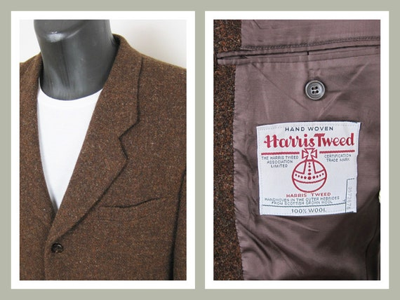 monia tyylejä kuponkikoodit useita värejä Mens Vintage Harris Tweed Jacket/Blazer/Hacking/Sports. Brown. Twill.  Basco. 1980s. Chest approx 40-42