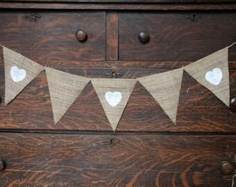 BURLAP HEART BANNER | Burlap Banner with Hearts | White Heart Banner | Personalized Burlap Banner | Rustic Banner | Barn Wedding Banner