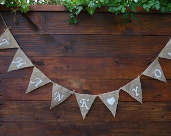 THANK YOU Burlap Banner | Thank you Banner | Wedding Banner | Party Banner | Photo Shoot Props | Rustic Wedding | Wedding Decor