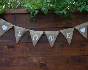 LOVE Banner | LOVE Burlap Banner | Engagement Banner | Wedding Banner | Rustic Wedding Decor | LOVE Sign | Family Photo Shoot | Rustic Love