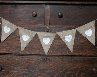 BURLAP HEARTS BANNER | Burlap Banner with Hearts | White Hearts Banner | Engagement Shoot Banner | Rustic Banner | Barn Wedding Banner