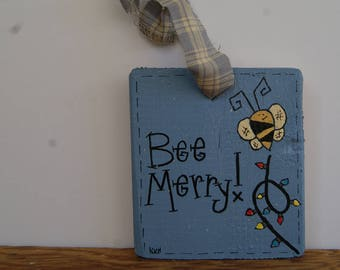 Bumblebee Ornament, Hand Painted Bumblebee Decoration, Bee Merry, Christmas Tree Ornament, Wooden Bumblebee Ornament, Wooden Ornaments, Bees