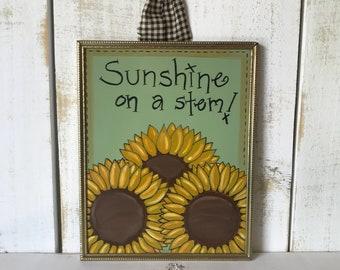 Sunflowers Frame, Hand Painted Sunflowers, Vintage Metal Frame, Gold Frame,  Sunshine On A Stem, Sunflower Decor, Sunflower Sign, Home Decor