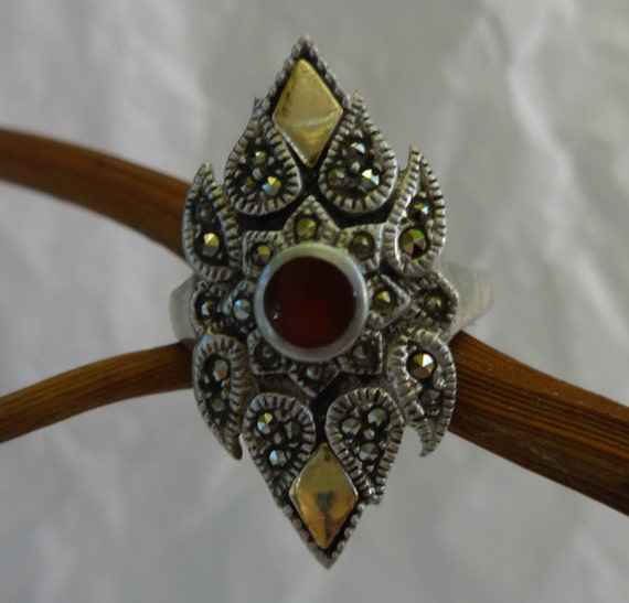 Garnet Ring, Vintage Garnet Ring, Garnet and Marca