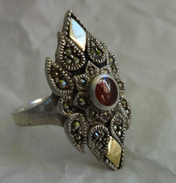 Garnet Ring, Vintage Garnet Ring, Garnet and Marc… - image 2