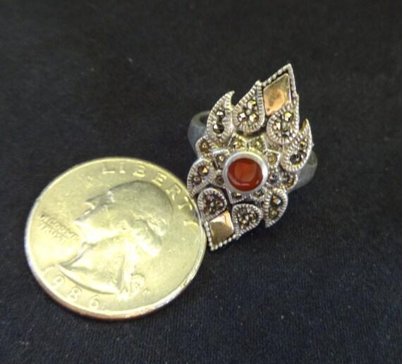 Garnet Ring, Vintage Garnet Ring, Garnet and Marc… - image 5