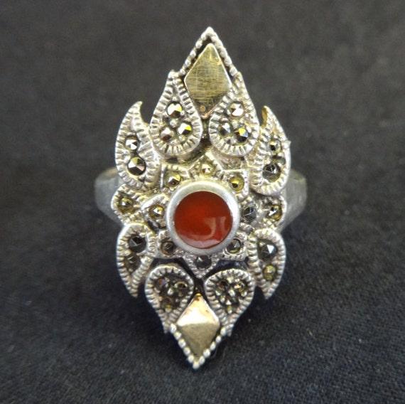 Garnet Ring, Vintage Garnet Ring, Garnet and Marc… - image 4