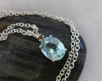 Blue Topaz Necklace, Ice Blue Topaz Necklace, Swiss Blue Topaz Necklace, Blue Topaz Jewelry, Topaz Pendant, Fine Jewelry, Gift Idea ,For Her