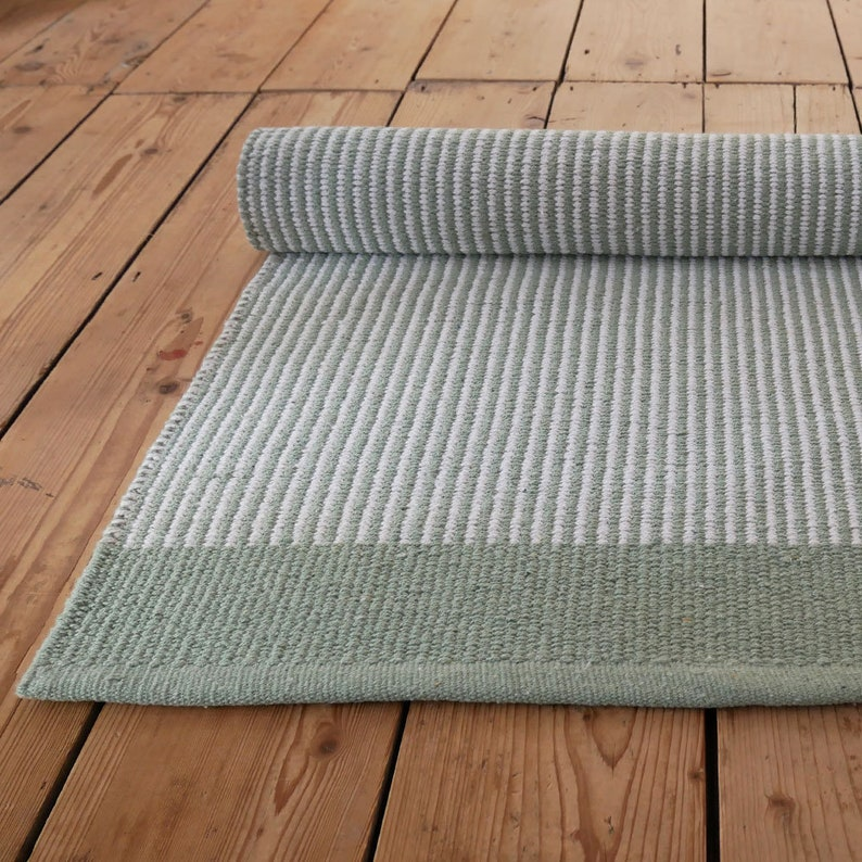 Green And White Striped Floor Runner W70 L140cm Etsy