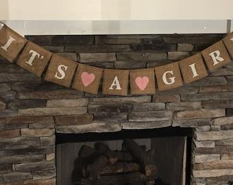 It\u2019s a Girl Sign It\u2019s a Girl Banner Girl Baby Shower Baby Girl Burlap It\u2019s a Girl Burlap Banner Girl Sign