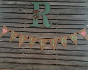 Customized Name Burlap Banner, Name Burlap Banner, Baby Shower Burlap Banner, Bridal Shower Name Burlap Banner