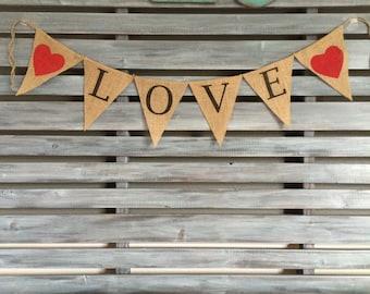 Love Burlap Banner, Love Banner, Love Sign, Wedding Banner, Engagement Prop, Wedding Prop, Wedding Burlap