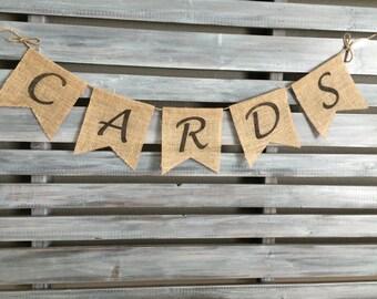 Cards Burlap Banner, Wedding Burlap Banner, Gift Banner, Cards Banner, Wedding Banner, Birthday Banner, Birthday Card Banner