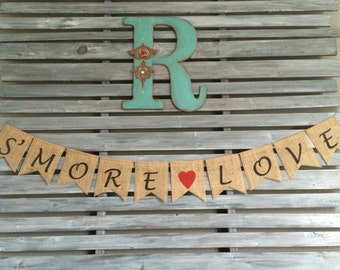 S'more Love Burlap Banner, S'More Love Banner, S'More Love Sign, S'More Favors Sign,