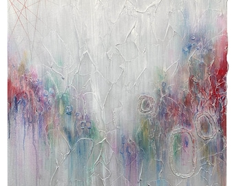 Large Abstract Circles Plaster Painting in Rainbow Colors Red, Yellow, Green, Teal, Purple, White and Silver- Original Acrylic Art on Canvas