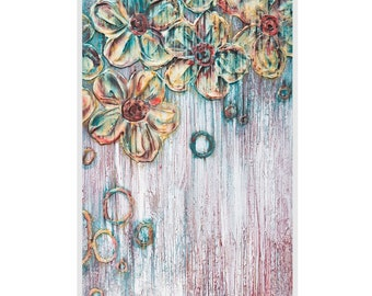 Archival Metallic Paper Reproduction Print - Acid Free Archival Mat in White - Metallic Red, Teal, Gold and White - Abstract Floral