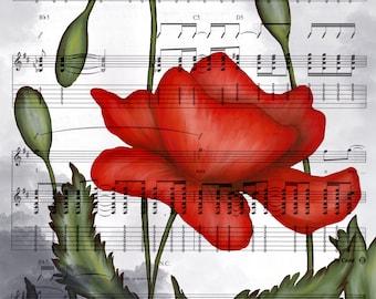 DIGITAL DOWNLOAD - digital painting of poppy flower over sheet music - red, black, white, green, gray  - high resolution jpg 8x10 16x20