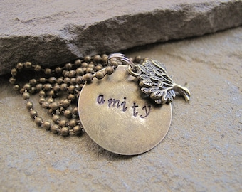 Ready to ship Amity Necklace, inspired by *Dauntless~Candor~Erudite~Amity~Abnegation* Quote necklace, fandom jewelry, OOAK