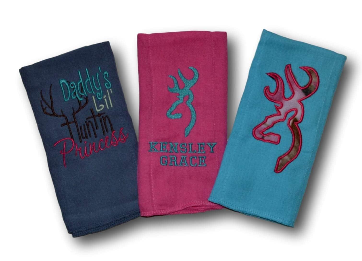 Burp Cloths for Girl, Set of 3 Burp Cloths, Baby Gift Set ...