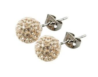 d78e8188b Pair 8mm /10mm Handmade Crystal Bead Pave Disco Ball Silver Earrings Studs  --Light Colorado